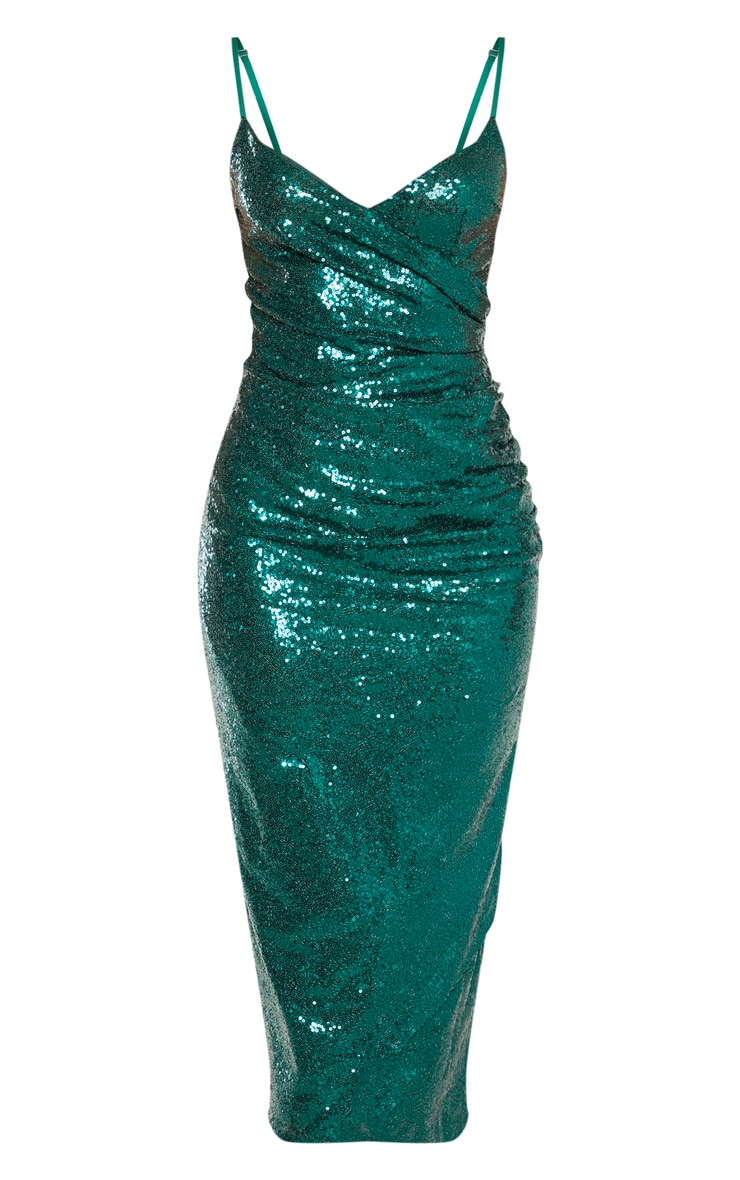 Emerald Green Sequin Wrap Over Midaxi Dress 3