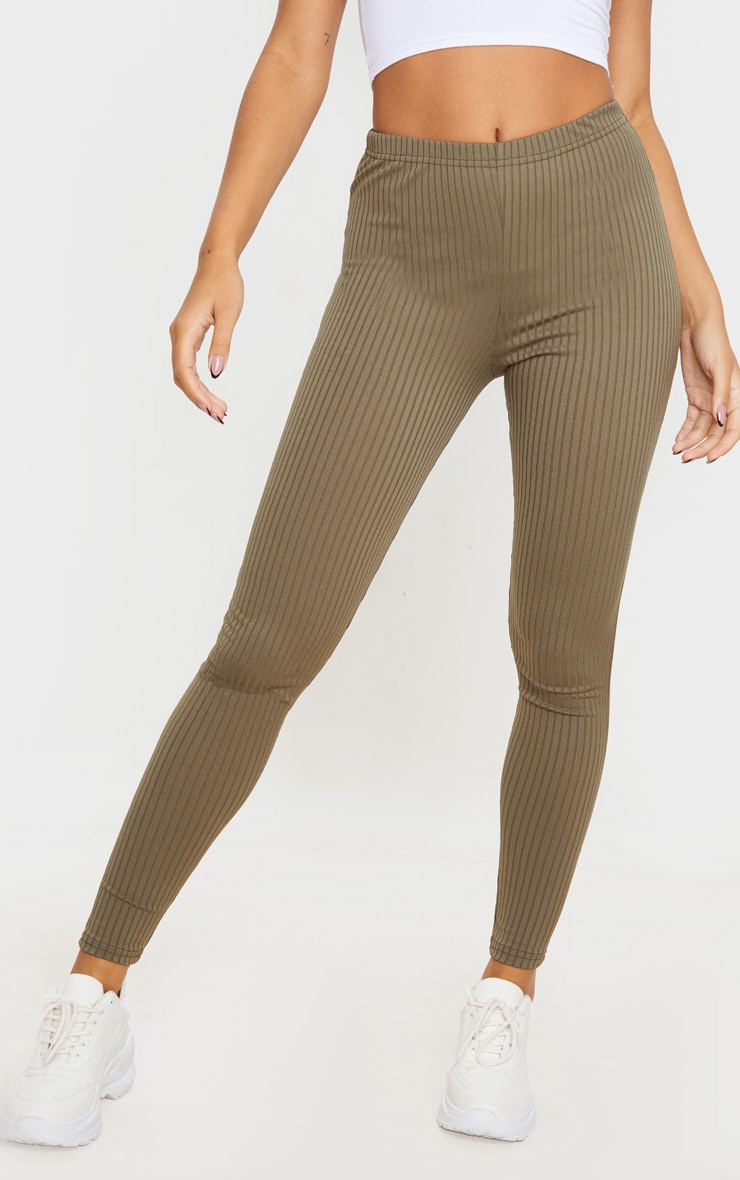 Khaki Ribbed Leggings 3