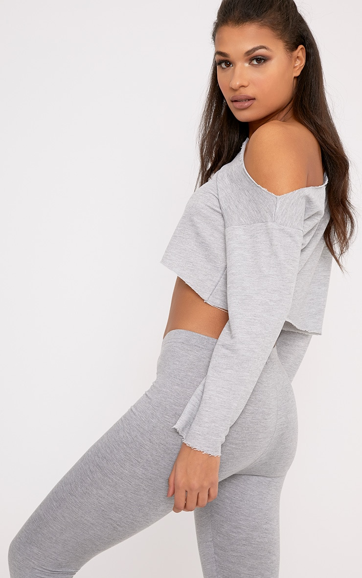 Hadley Grey Off Shoulder Cropped Sweater 2