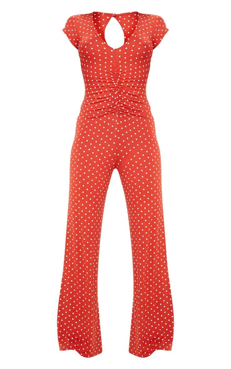Rust Polka Dot Ruched Front Short Sleeve Jersey Jumpsuit 3