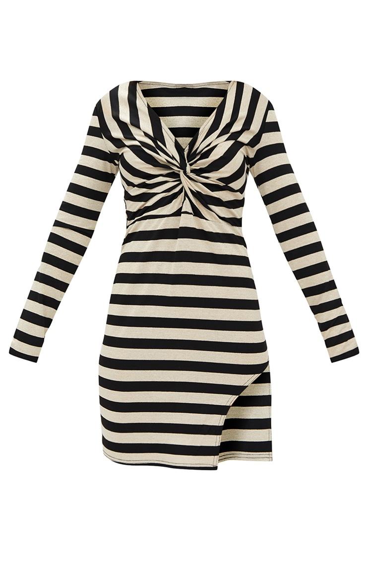 Gold Glitter Stripe Long Sleeve Plunge Extreme Split Bodycon Dress 3