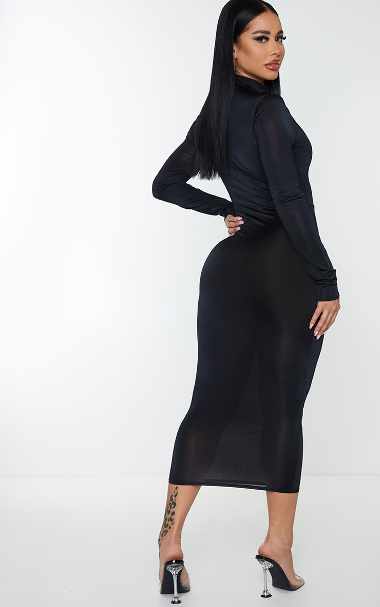 Shape Black Disco Zip Front Midi Dress 2