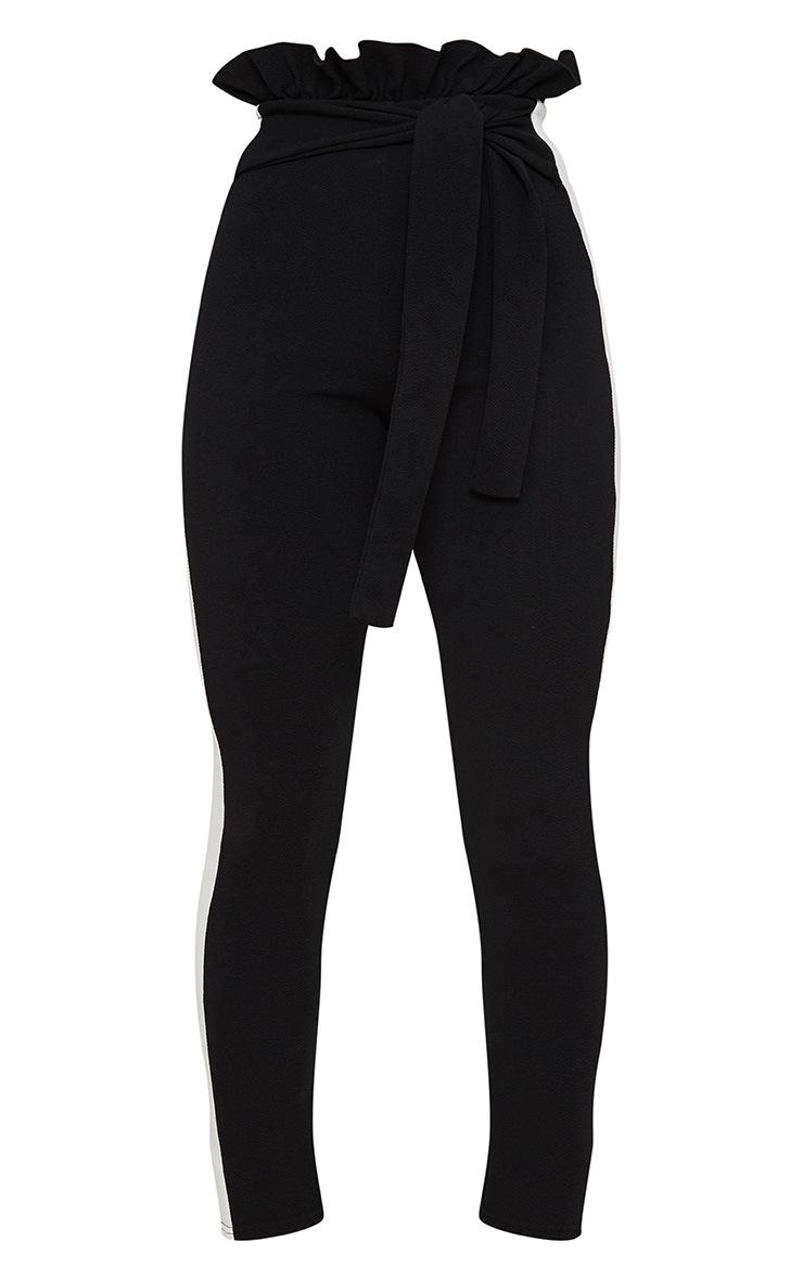 Black Side Stripe Paperbag Skinny Pants 3