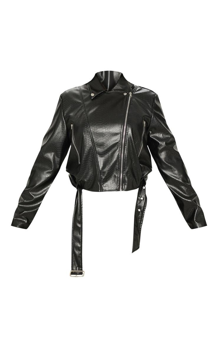 Plus Black Croc PU Biker Jacket 3