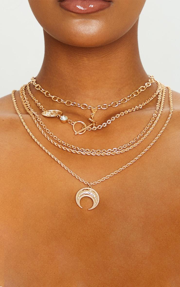Gold Cross Multi Chain Necklace 2