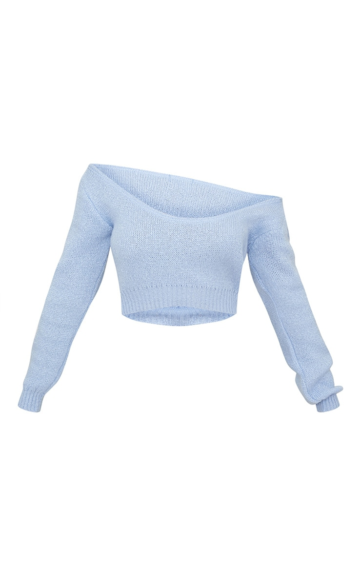 Blue V Neck Off Shoulder Soft Knitted Cropped Sweater 3