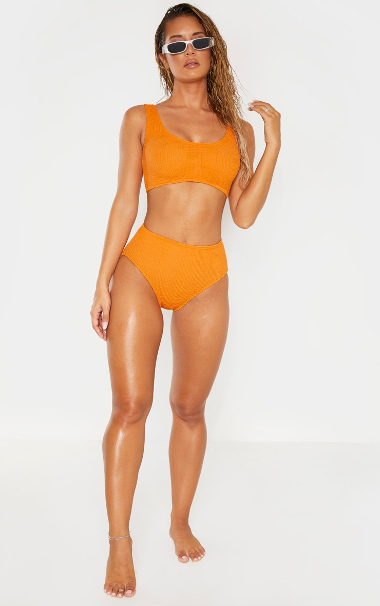 Orange Crinkle Deep Scoop Bikini Top 4