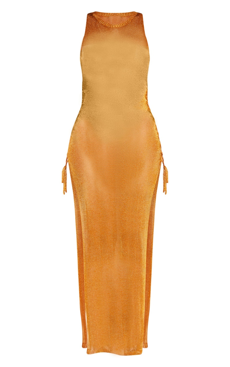 Orange Metallic Knitted Maxi Dress 3