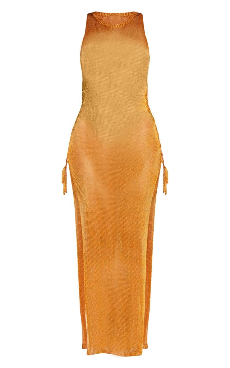 Orange Metallic Knitted Maxi Dress  3