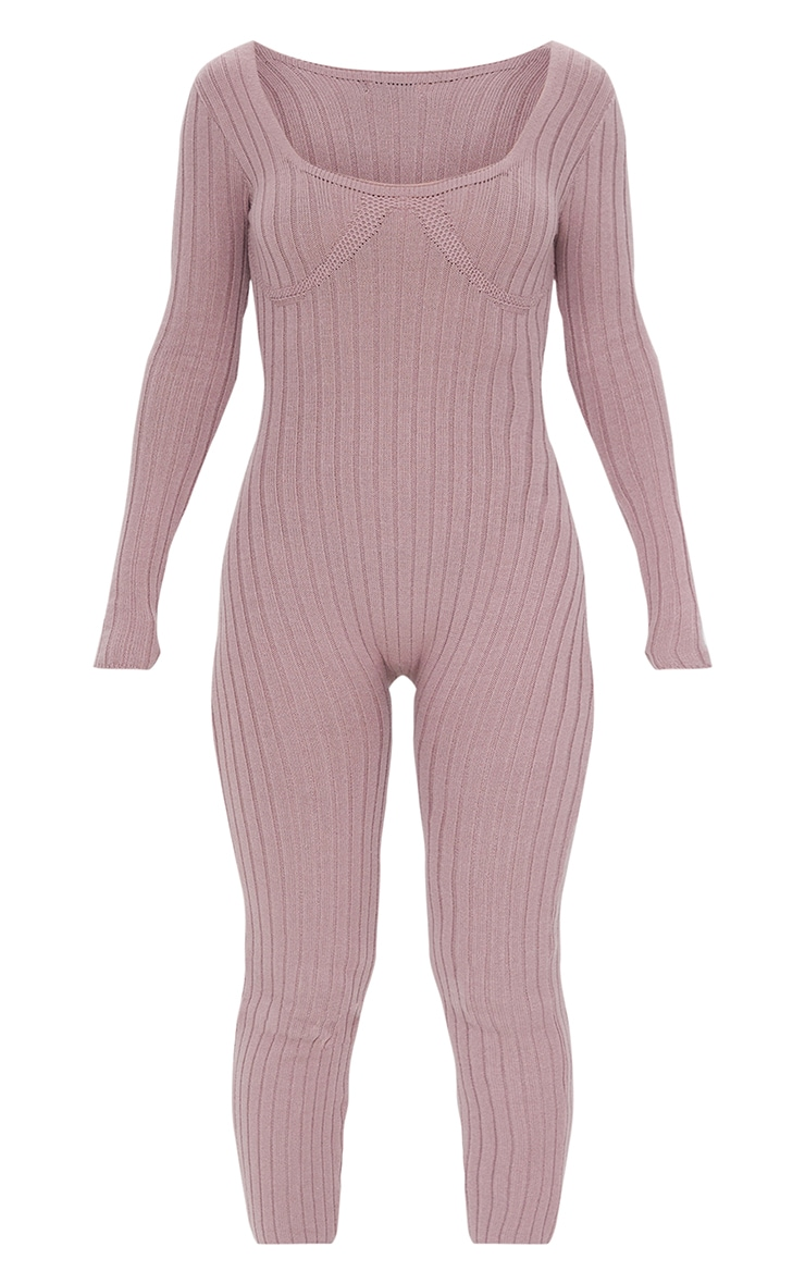 Mocha Bust Detail Ribbed Knitted Fitted Jumpsuit 5