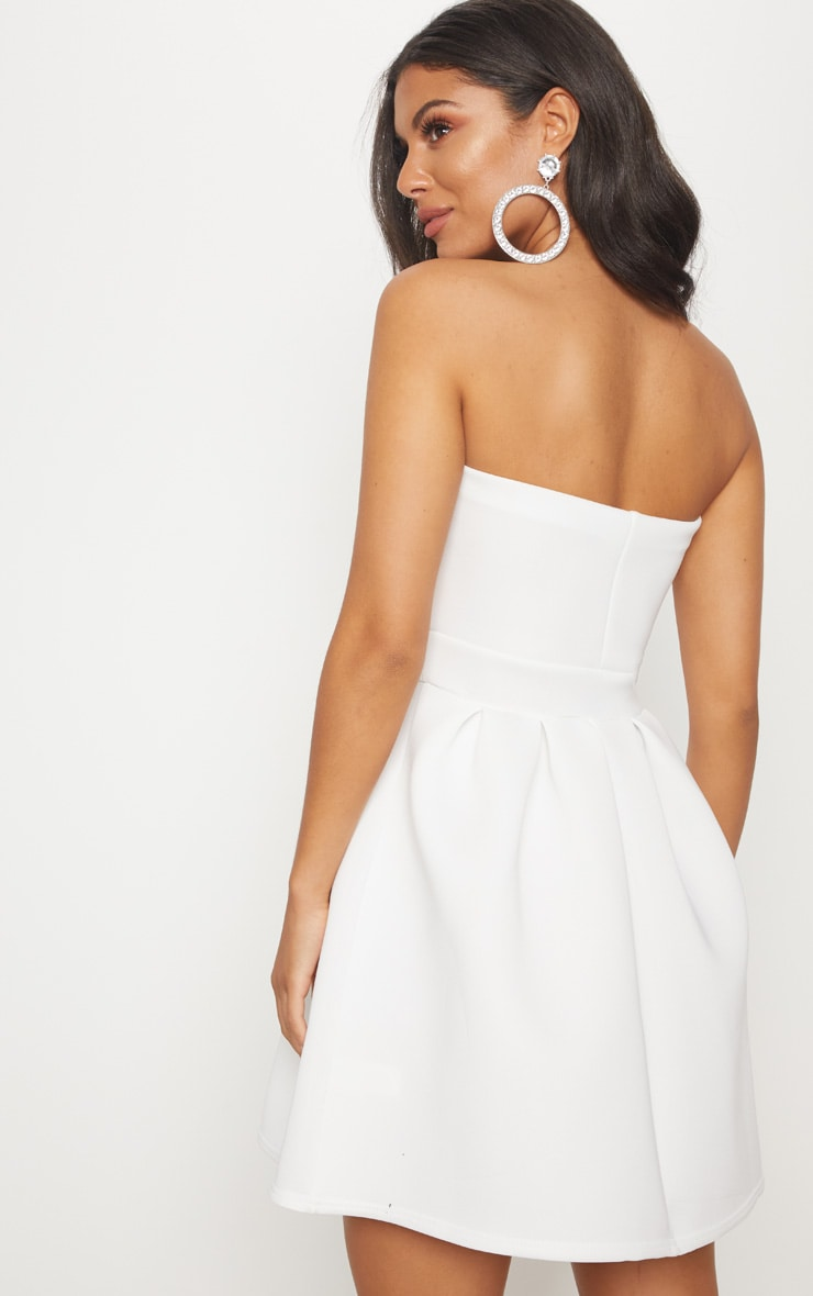 White Bonded Scuba Ruffle Detail Skater Dress 2