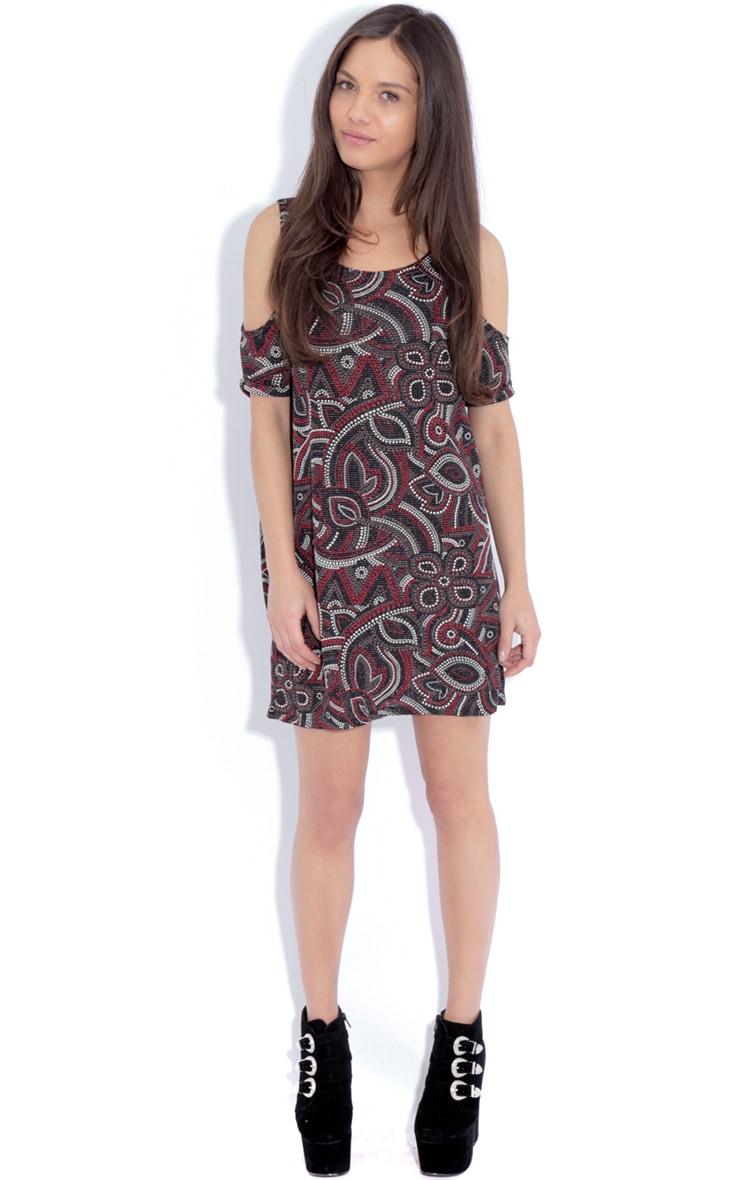 Rita Black Paisley Print Cut Out Dress 3