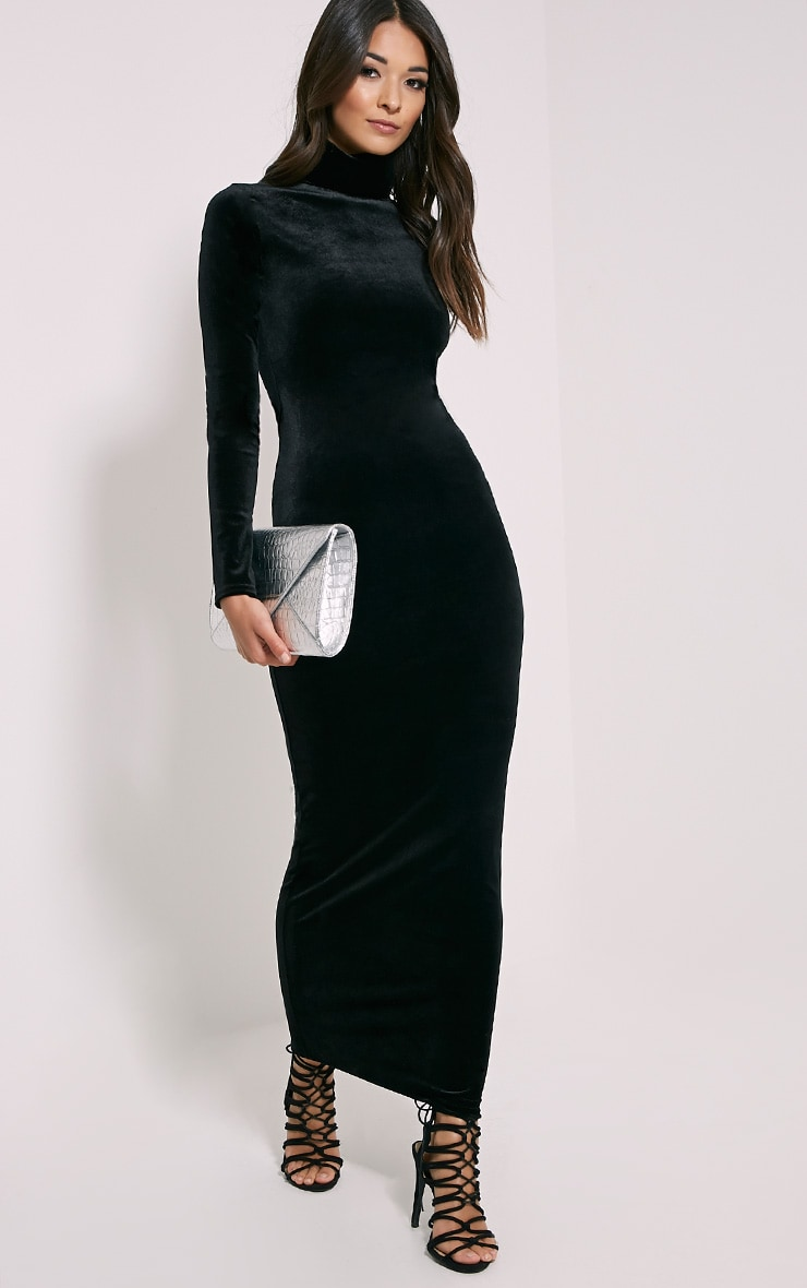 Cindy Black Turtle Neck Velvet Maxi Dress 3