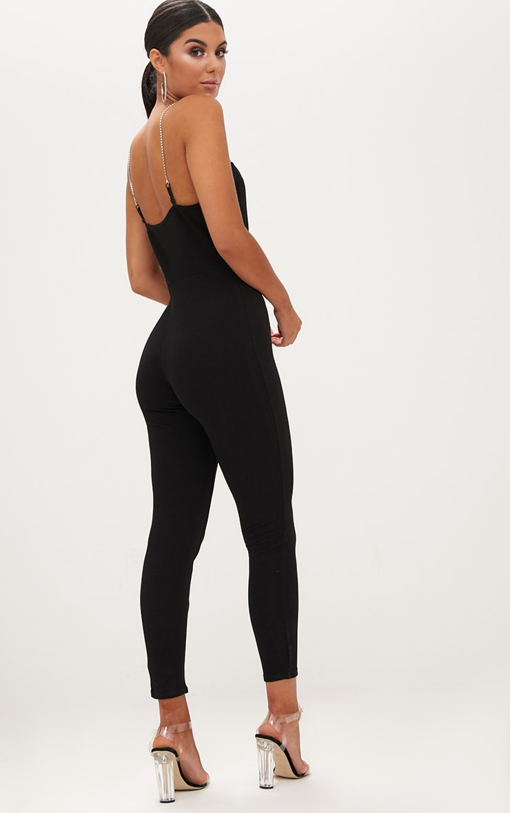 Black Diamante Strap Jumpsuit 2