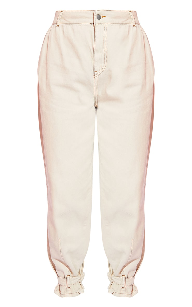Sand With Tobacco Stitch Buckle Detail Cargo Jeans 5