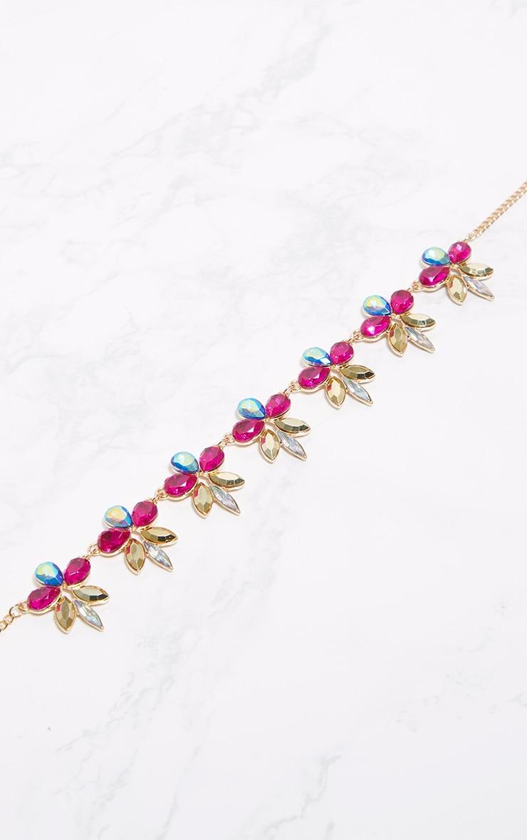 Multi Floral Jewel Statement Choker 3