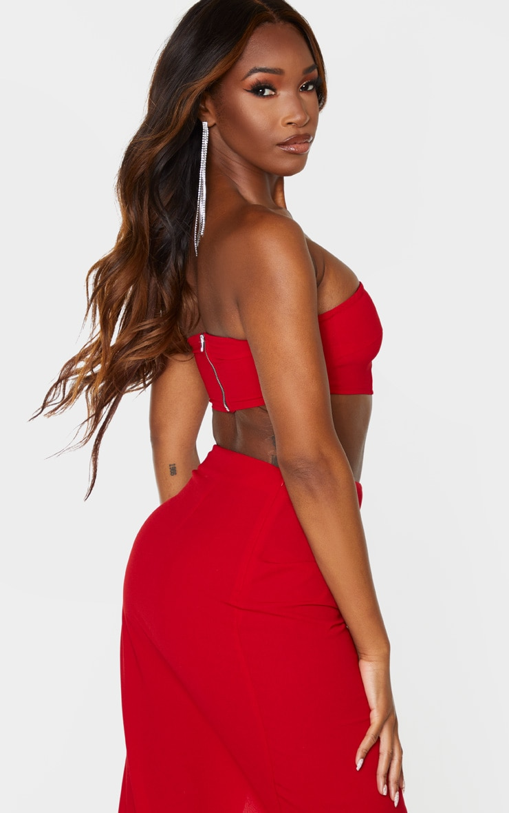 Red Woven Zip Back Bandeau 3