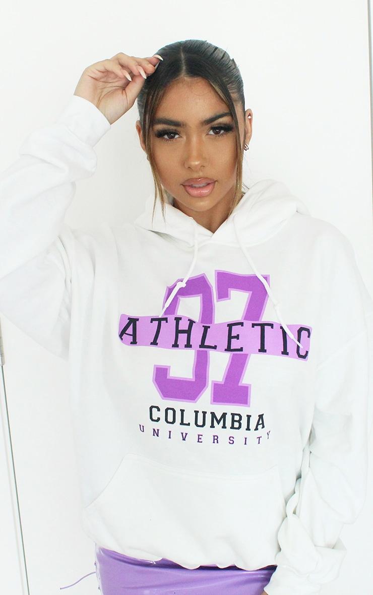 White 97 Athletic Slogan Hoodie 4