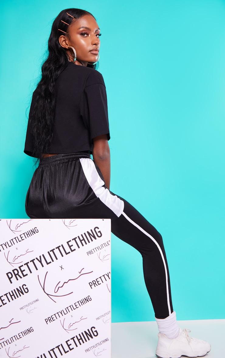 KARL KANI Black Embroidered Crop T Shirt  3