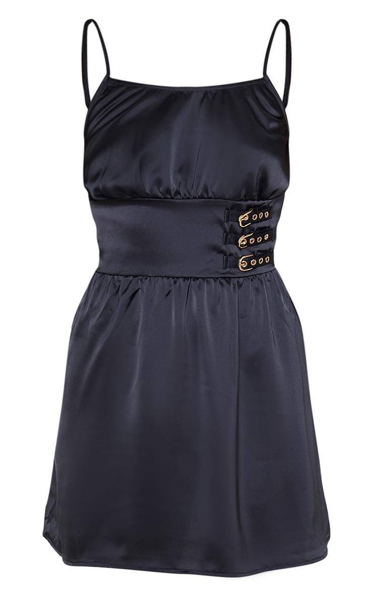 Black Satin Buckle Detail Skater Dress 3