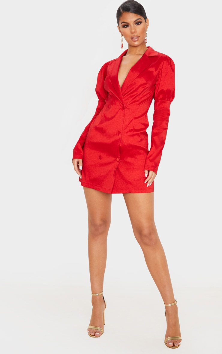 Red Woven Puff Sleeve Blazer Dress 4