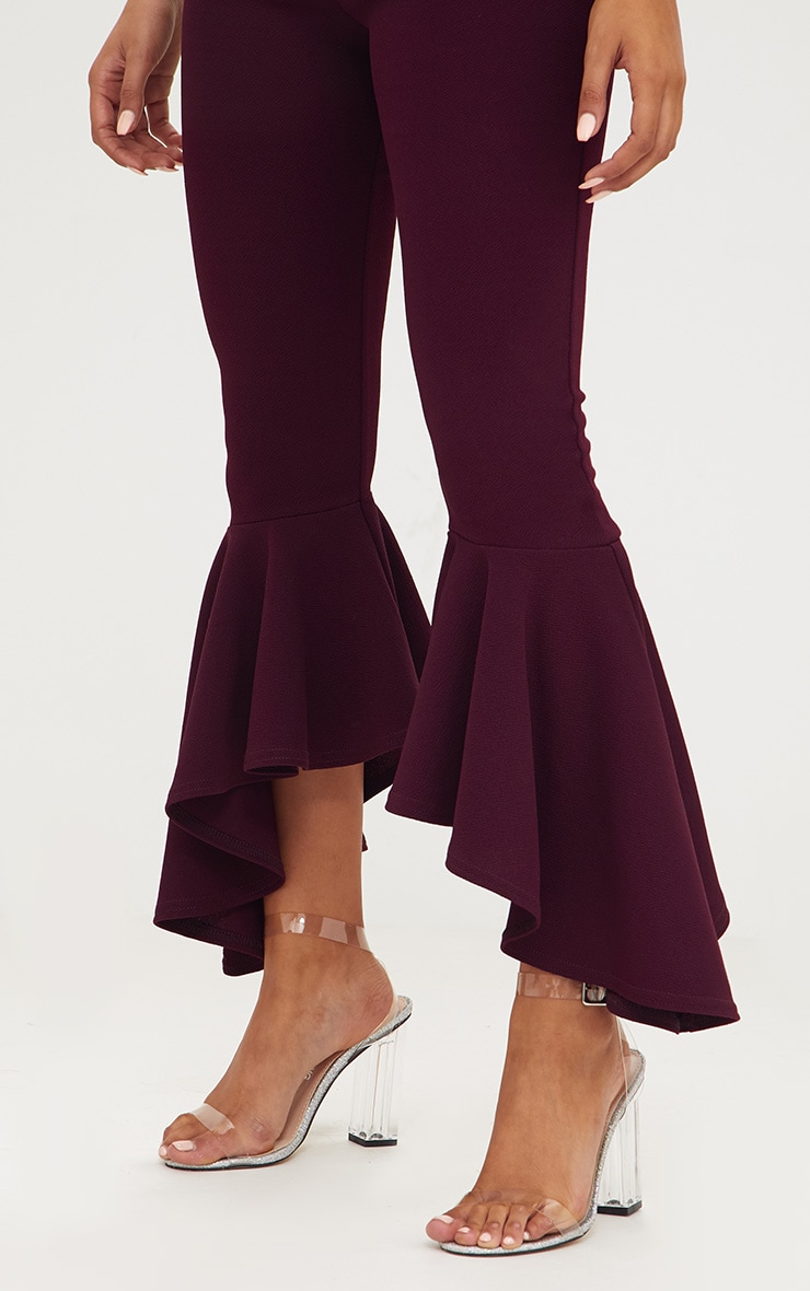 Plum Asymmetric Flare Hem Trousers 5