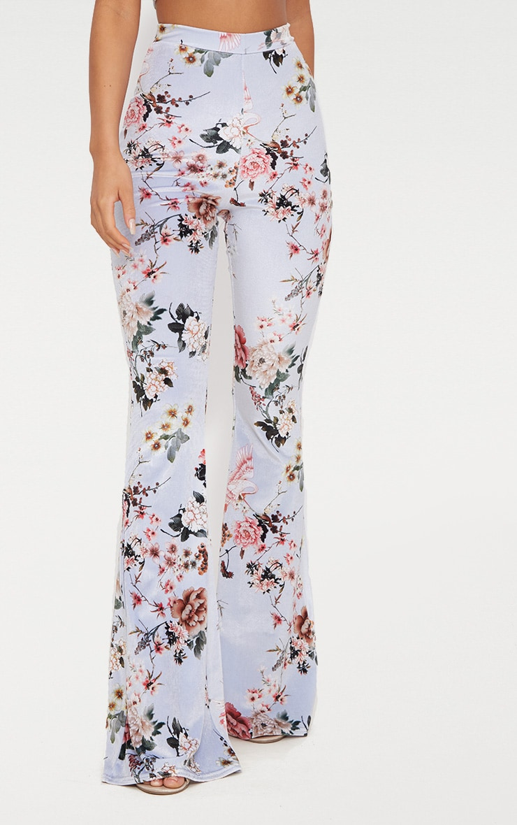 Grey Floral Velvet Flared Pants 2