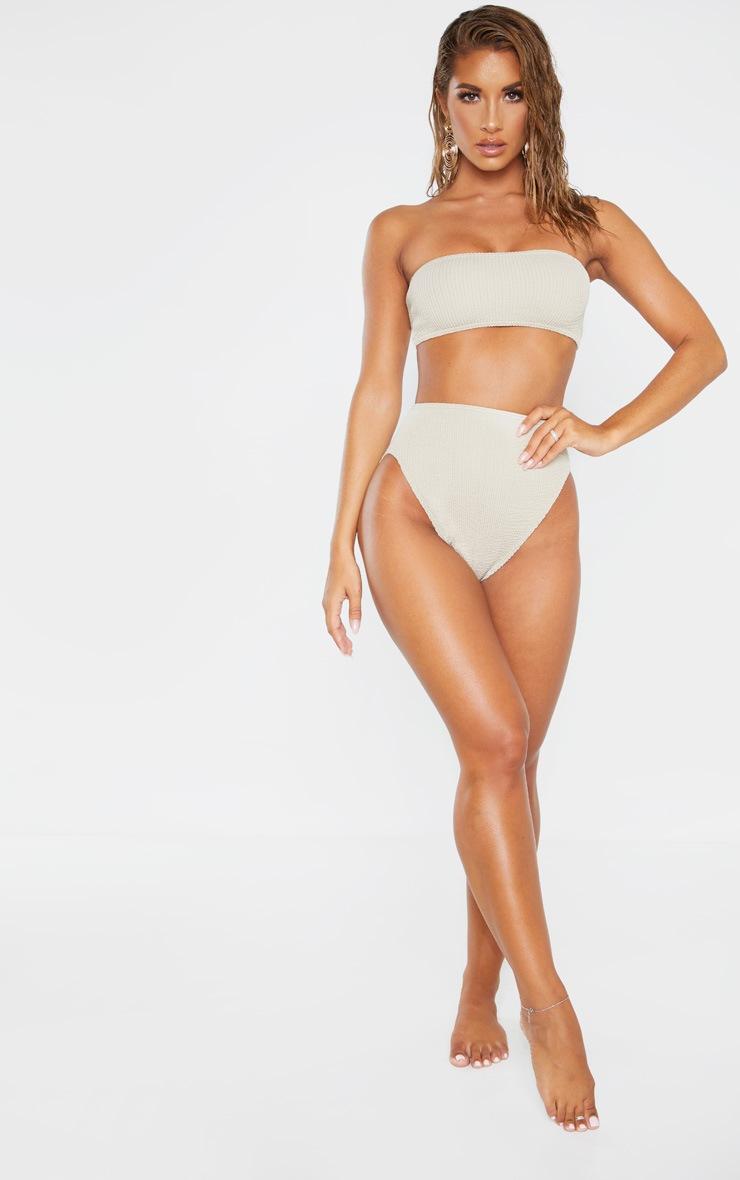 Taupe Crinkle High Waist Bikini Bottom 4