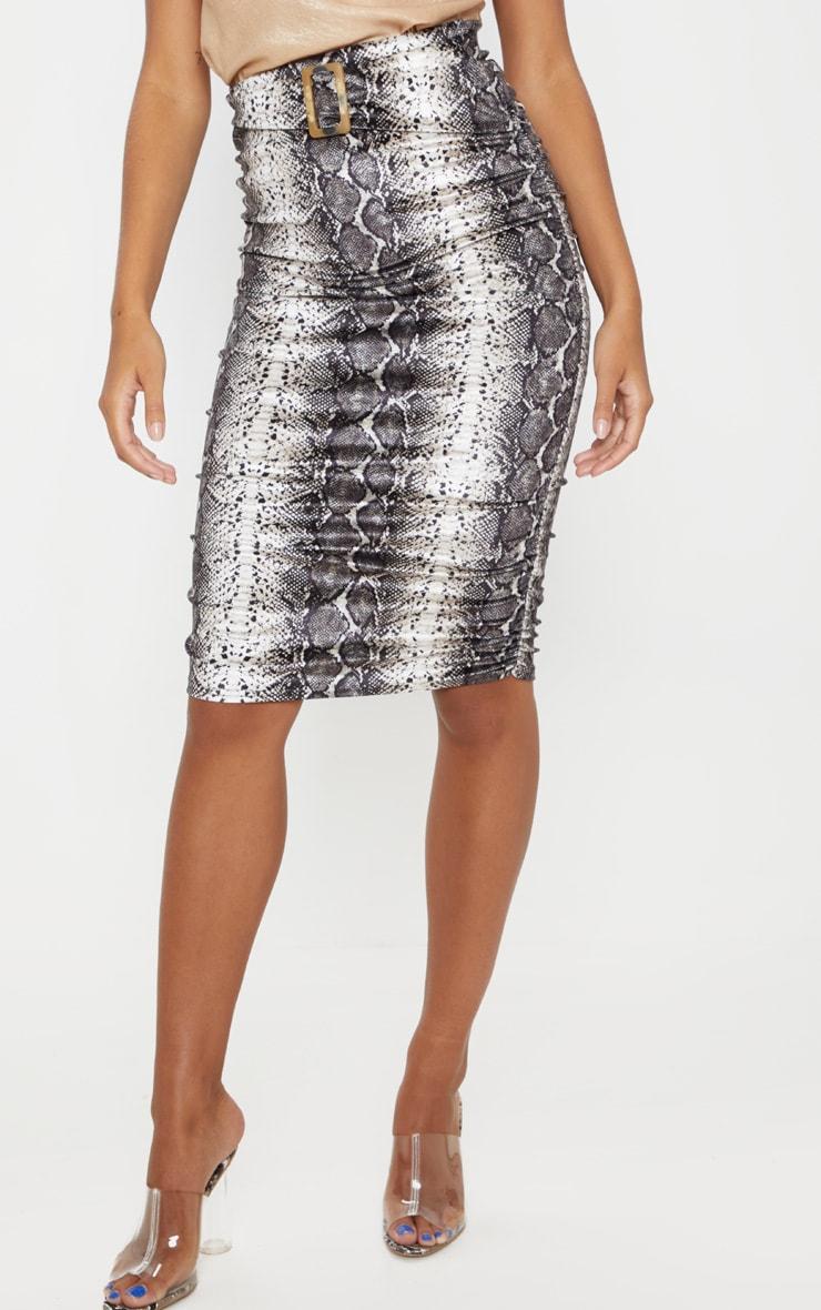 Grey Snake Print Velvet Belted Waist Midi Skirt  2