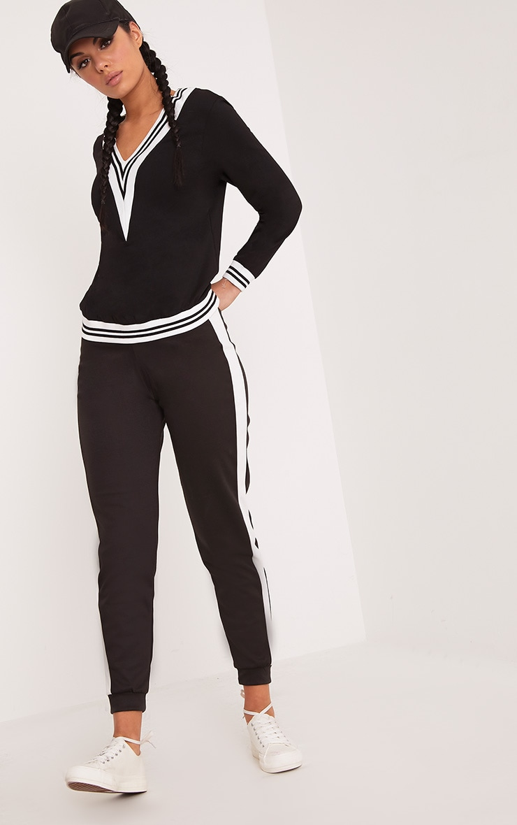 Deborah Black Stripe Trim V Neck Sweater 4