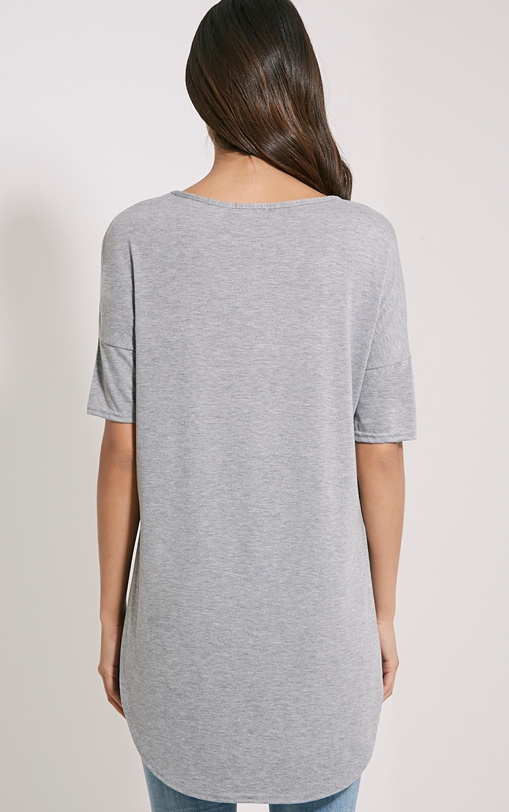 Basic Grey Dip Hem Loose T-Shirt 2