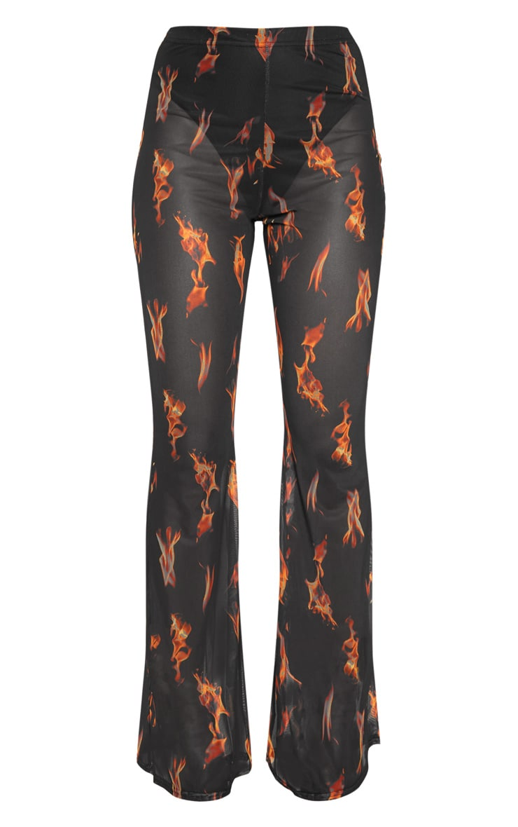 Black Flame Print Mesh Flare Leg Pants 3