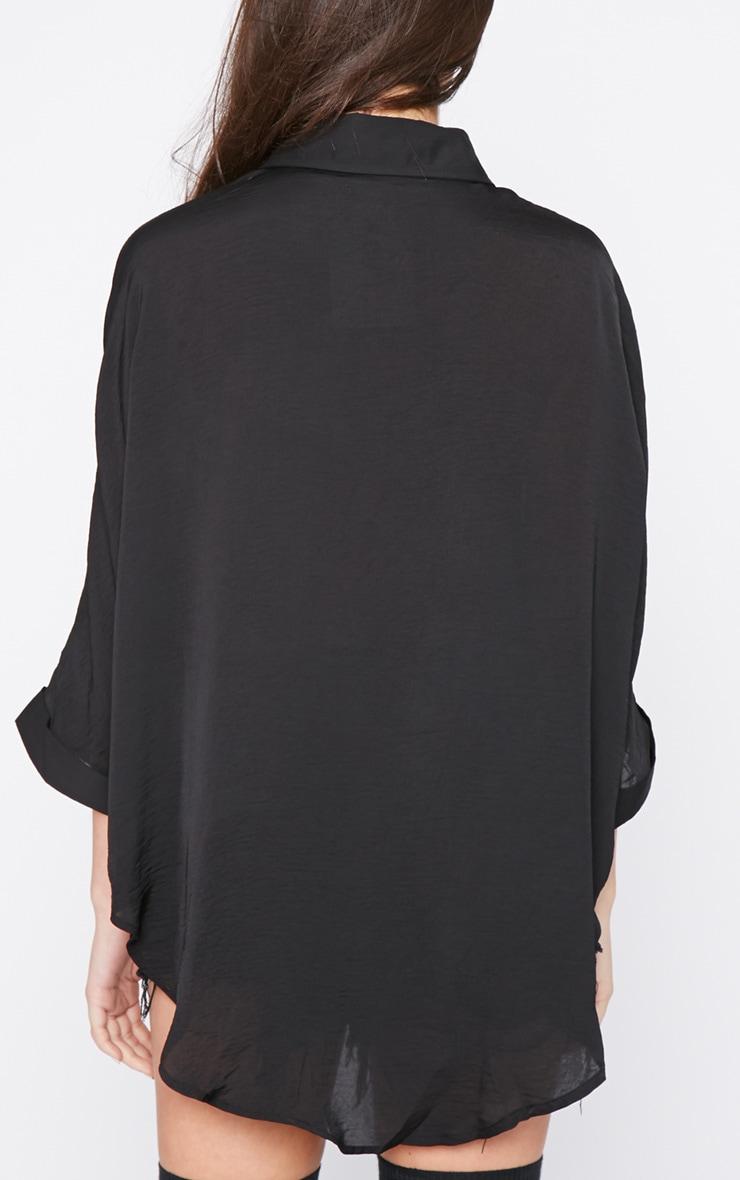 Melita Black Dip Hem Batwing Sleeve Shirt 2
