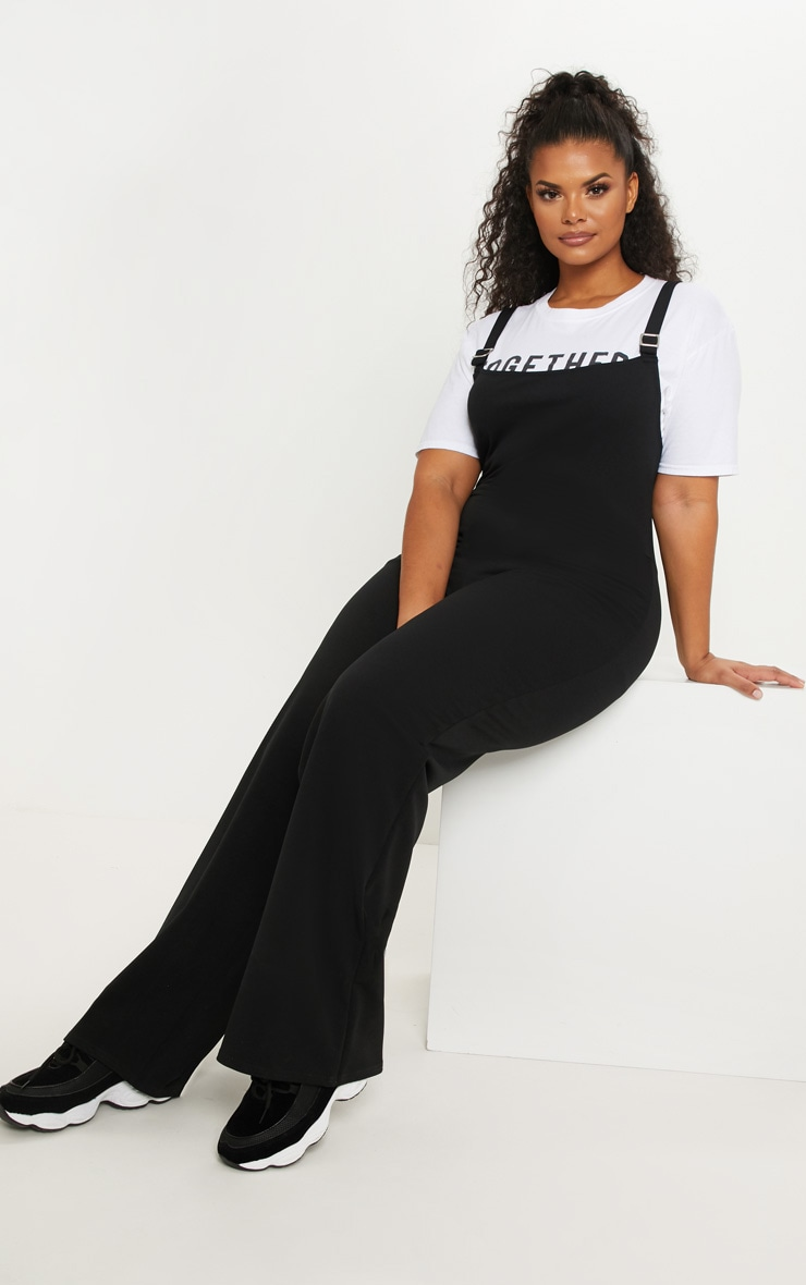 Plus Black Buckle Detail Wide Leg Jumpsuit 4