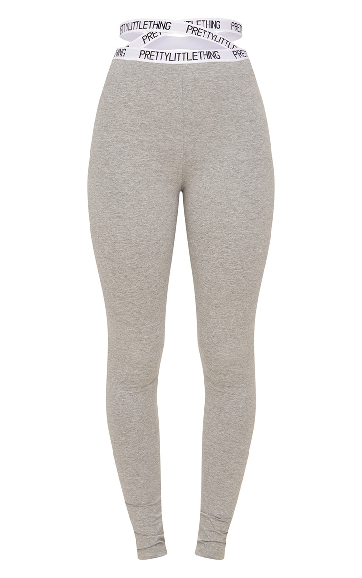 PRETTYLITTLETHING Grey Marl Strappy Waist Leggings 4
