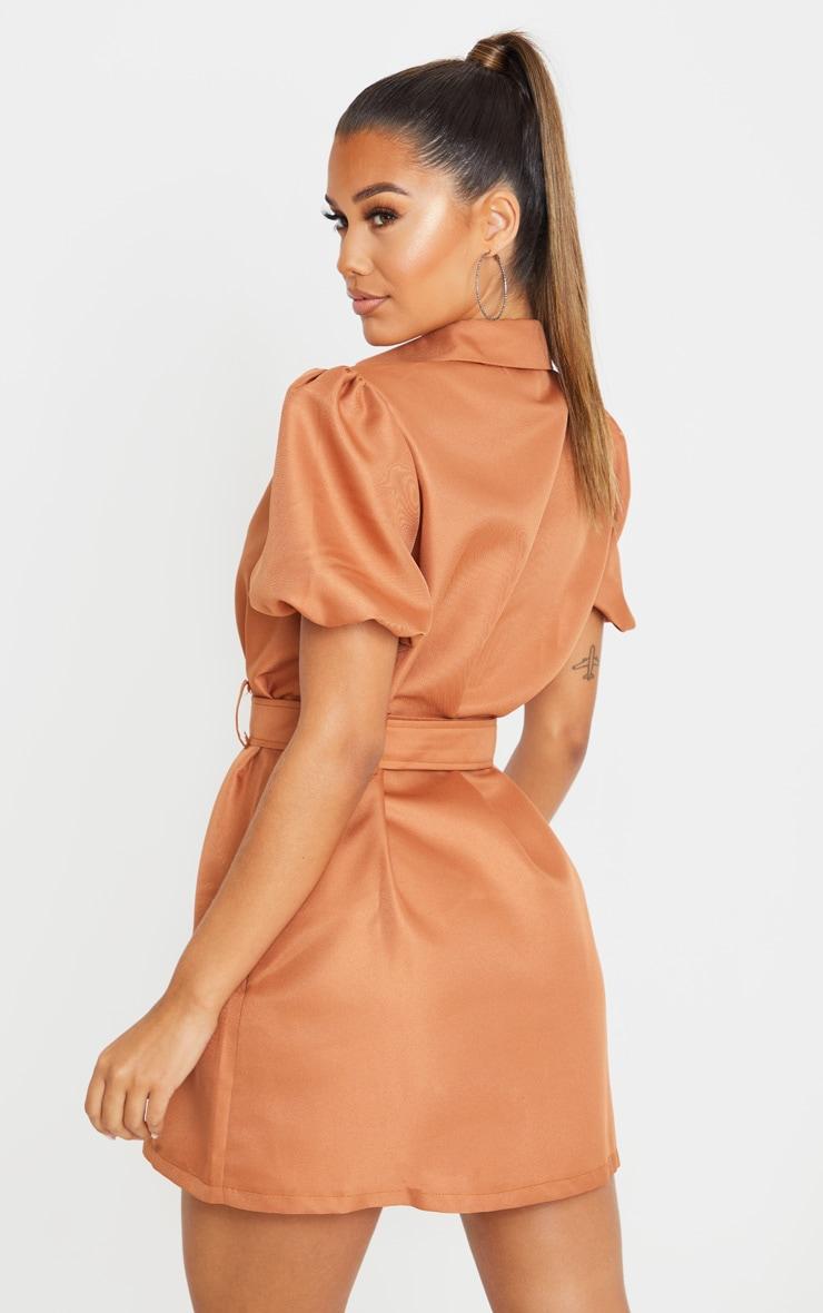 Terracotta Puff Sleeve Belted Shirt Dress 2