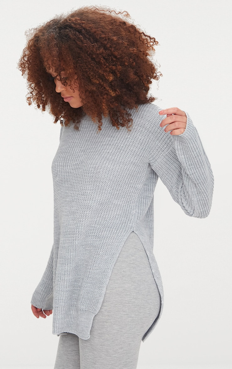 Grey Round Neck Side Split Jumper 1