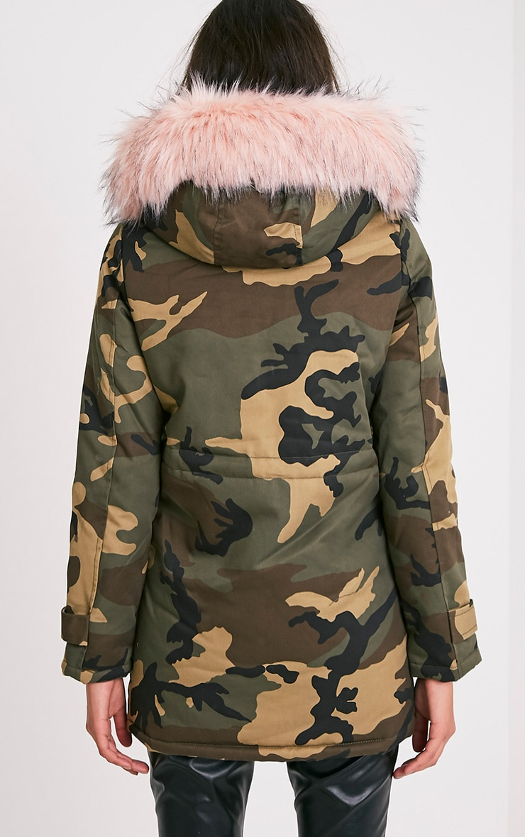 Fliss Baby Pink Camo Faux Fur Lined Parka 2