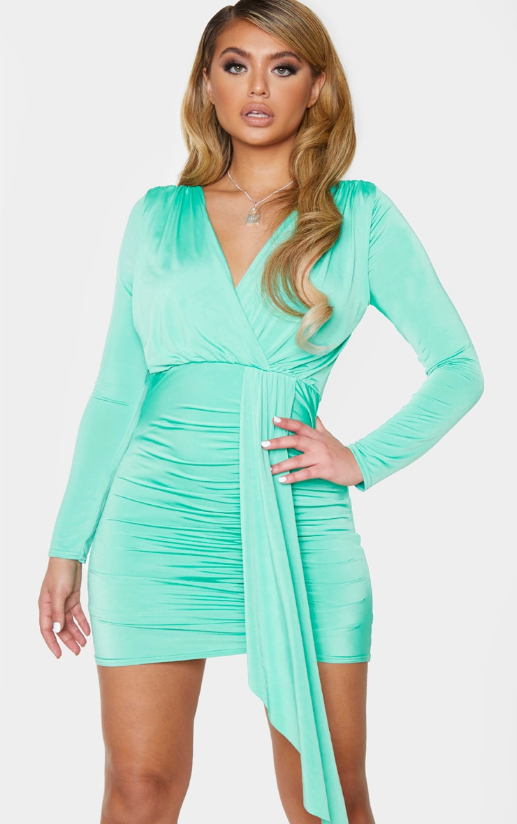Green Slinky Ruched Front Drape Detail Bodycon Dress 1