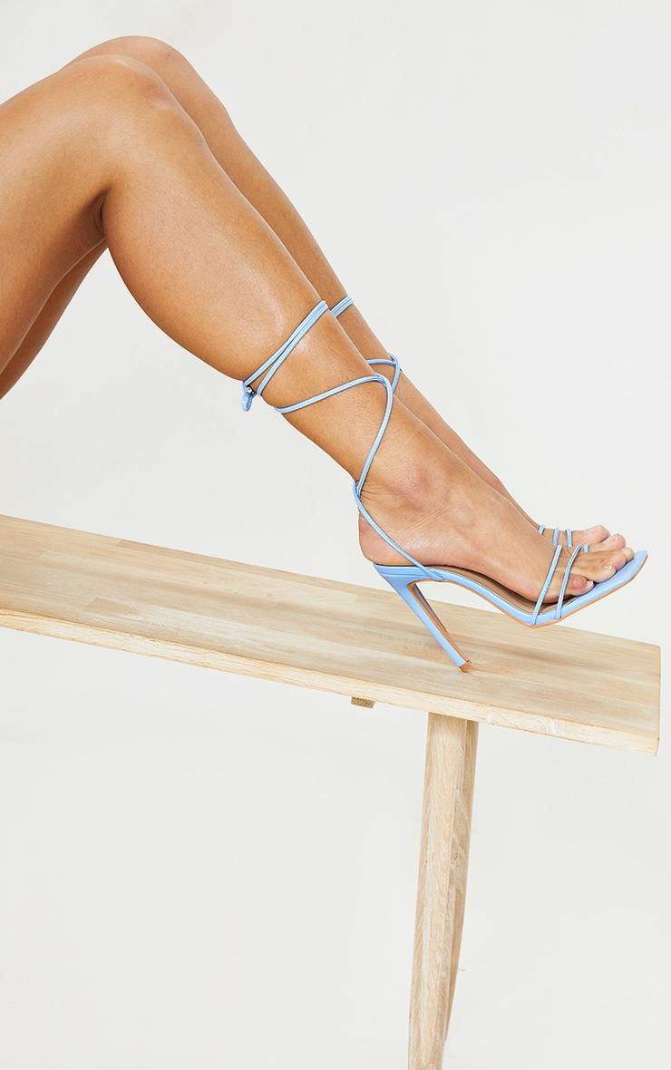Blue PU Square Toe Lace Up Toe Loop Heels 2