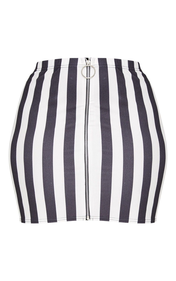 Plus Black Ring Pull Detail Striped Mini Skirt 3
