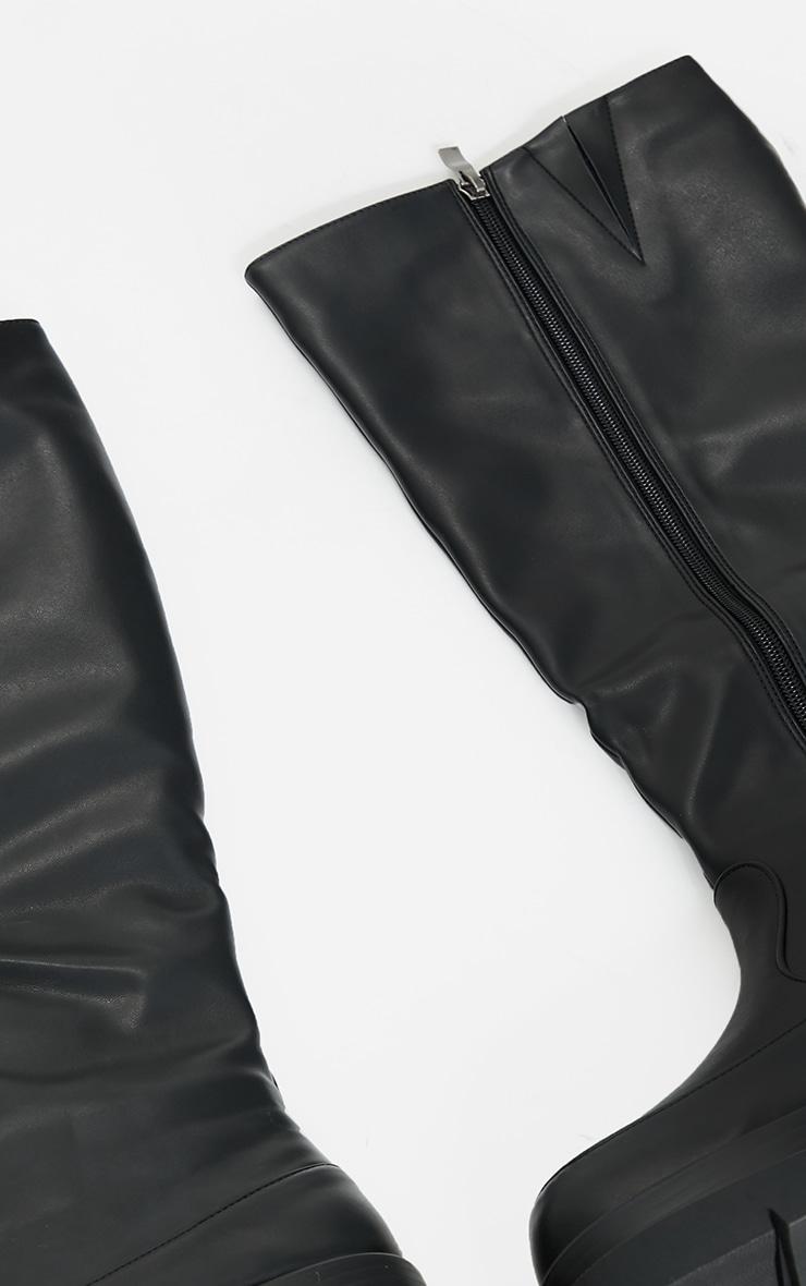 Black PU Knee High Chunky Sole Boots 4