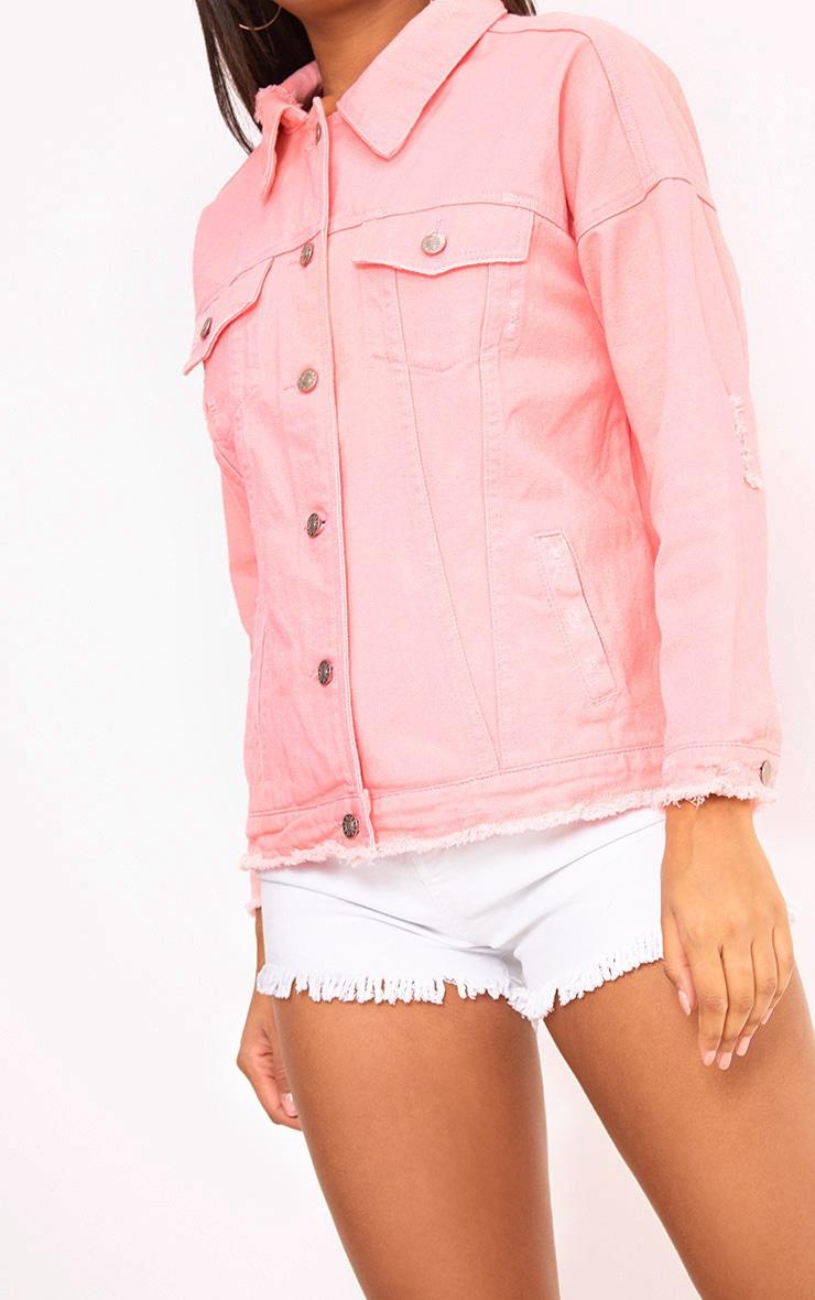 Pink Oversized Fray Hem Denim Jacket 5