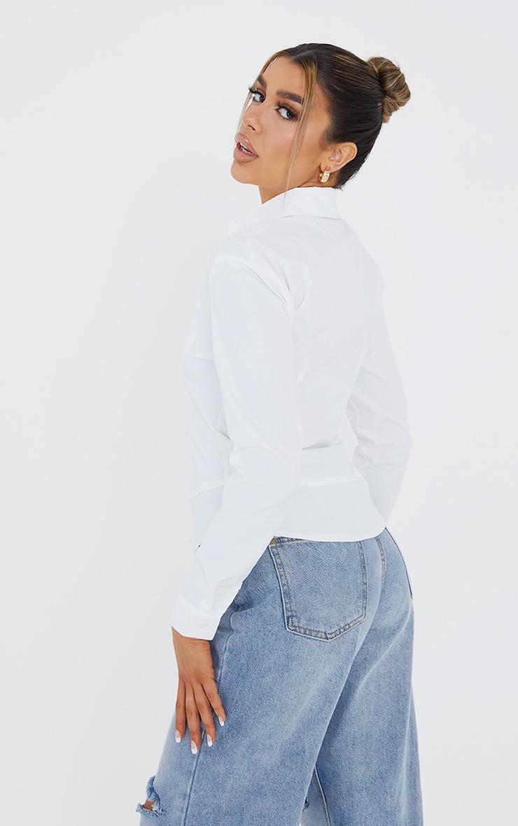 White Poplin Hem Detail Double Pocket Fitted Shirt 2