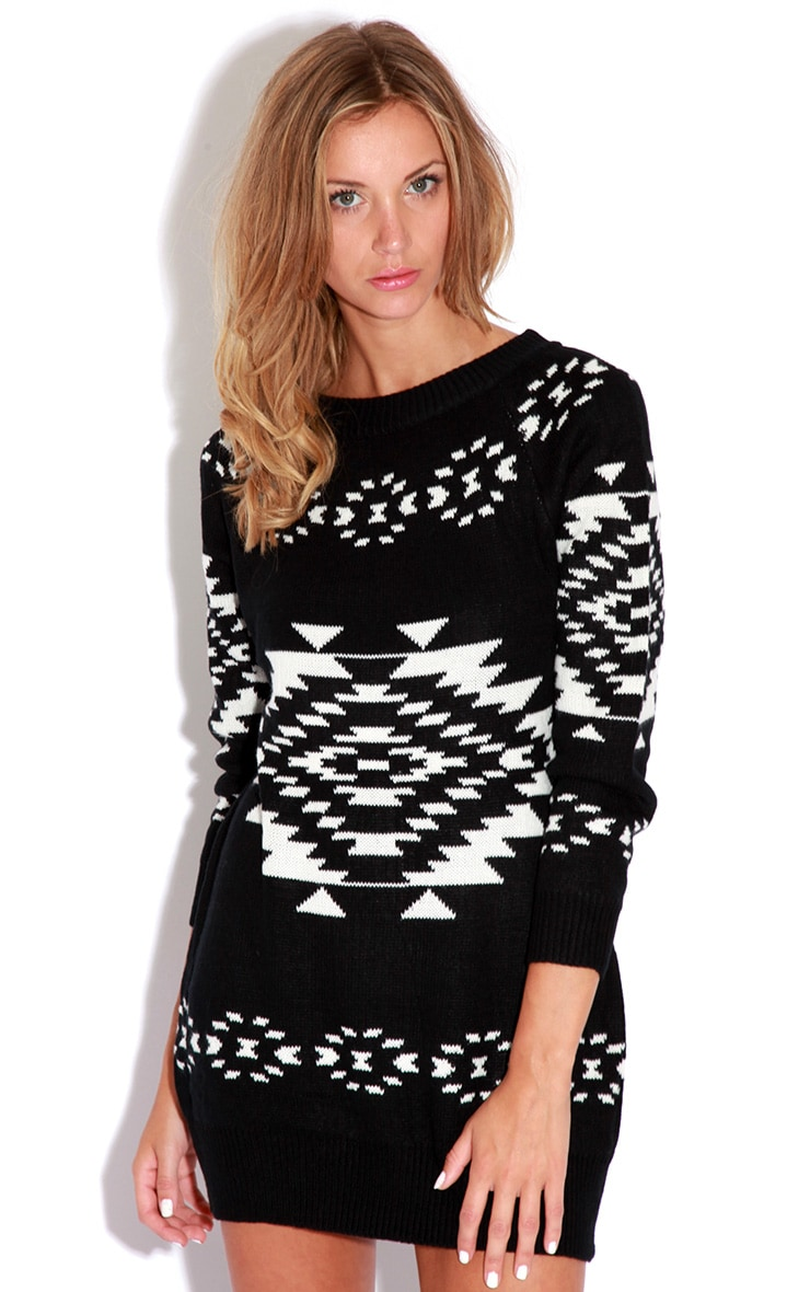 Nadia Aztec Knitted Jumper Dress And Scarf Set 2