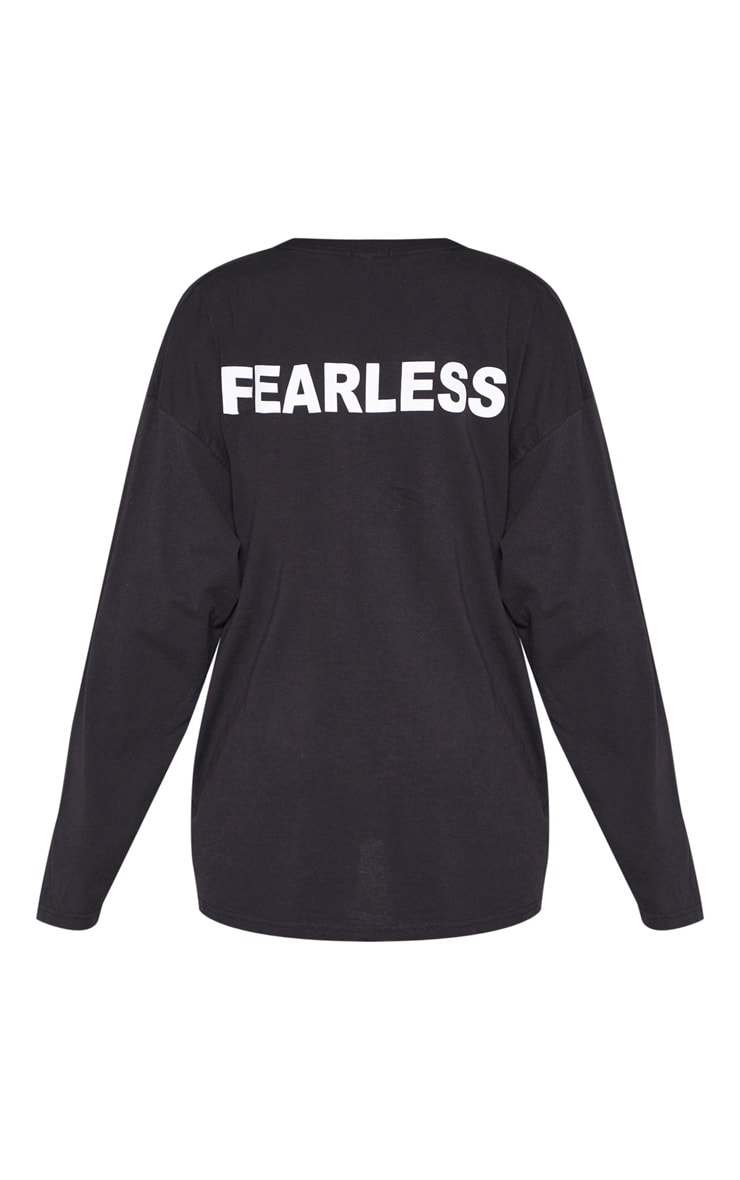 T-shirt manches longues noir à slogan Fearless au dos 6