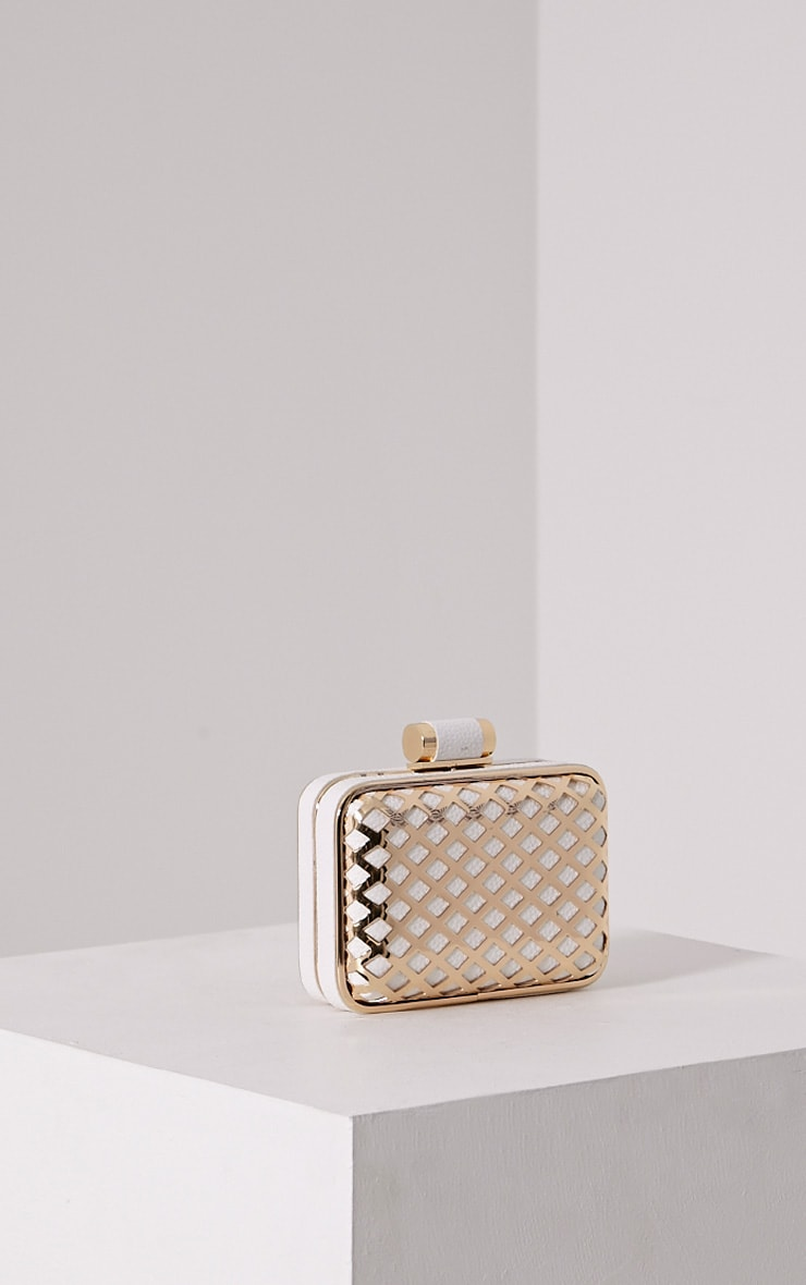 Kristina White Caged Clutch Bag 1