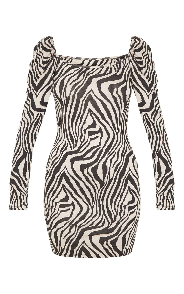 Stone Zebra Print Puff Long Sleeve Bodycon Dress 3