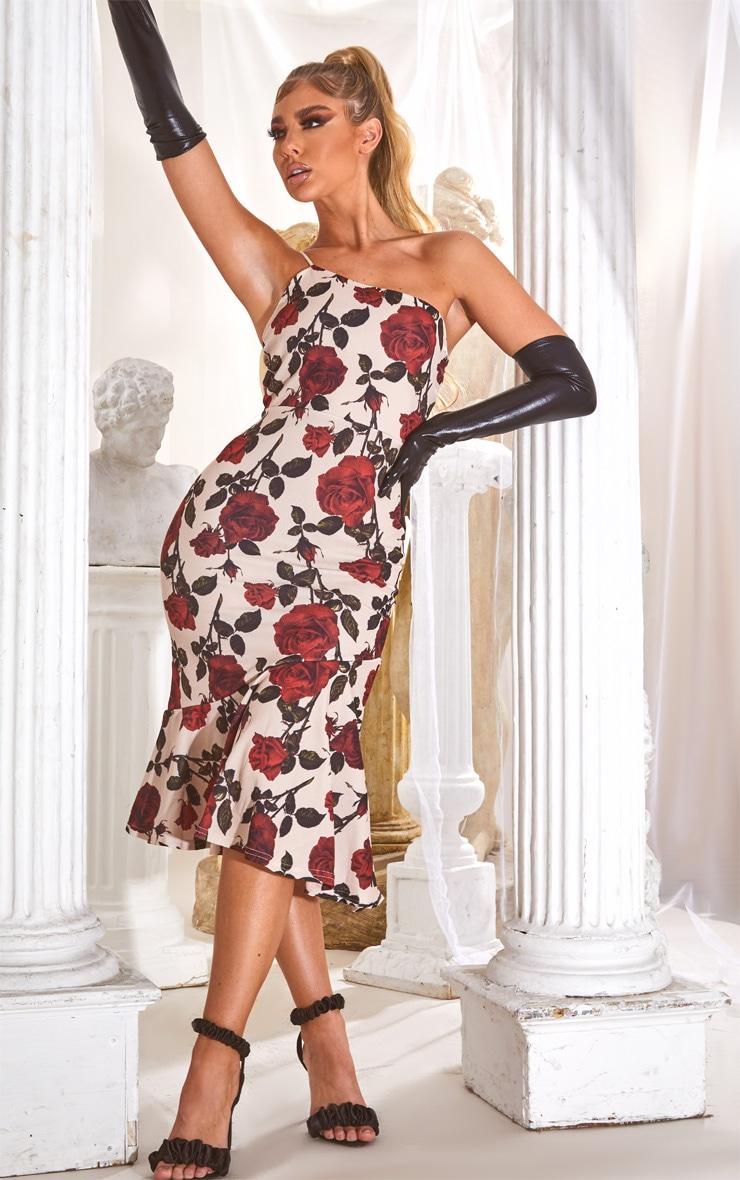 Nude Rose Print Strappy One Shoulder Frill Hem Midi Dress 1
