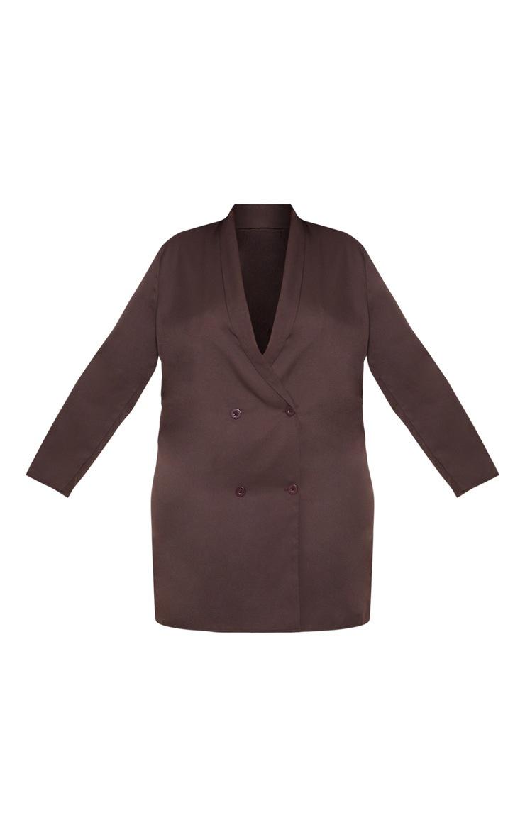 Plus Chocolate Brown Oversized Blazer Dress 3
